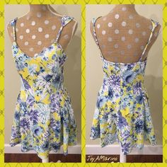 Dress Fun yellow and blue dress fully lined. Form fitting with some stretch for comfort with a back zipper. Fresh and summery for a lunch date or walk on the beach! J.O.A. Los Angeles Dresses
