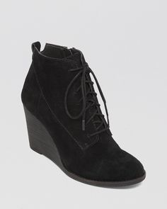 Lucky Brand Lace Up Wedge Booties - Yoanna | Bloomingdale's