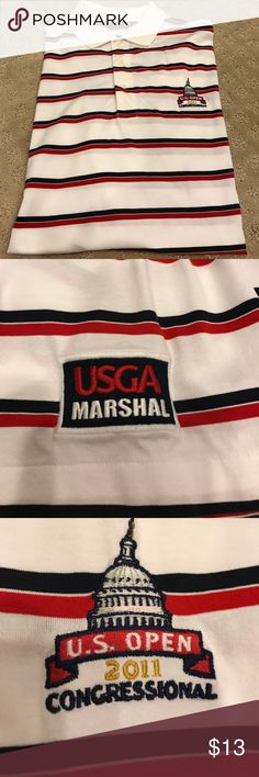 Polo USGA Marshal Polo My Hubby was a Marshal at the Confessional US Open however he lost weight and it's simply too big on him now. The shirt is flawless ,maker is Ralph Lauren Polo. Size XL , white with red & black stripes. A collectors piece! Polo by Ralph Lauren Shirts Polos