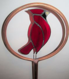 Stained Glass Copper Garden Stake Cardinal by PowerGlassCreations