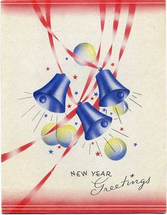 A vibrant, cheerful New Year's Eve greeting card (the colours of which can't help but make one think of the of July, too). Happy New Year Greetings, New Year Greeting Cards, Happy New Year 2019, New Year Card, Vintage Greeting Cards, Vintage Postcards, Vintage Images, Old Christmas, Vintage Christmas Cards