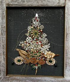 Vintage PearlsBeads and Jewelry Tree in Primitive Frame by lynnery
