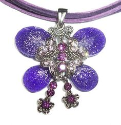 Vintage Swarovski Element Crystal Pendant Necklace Purple Butterfly with Choker WLSTORE N32224