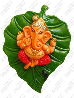 Beautiful Handpainted Ganesha On A Leaf Wall Plate