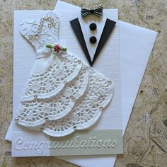 Handmade Wedding card. Blank insert White envelope included