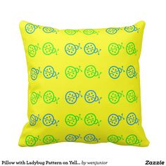 Pillow with Ladybug Pattern on Yellow Background