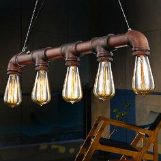 INDUSTRIAL STEAMPUNK LAMP IRON PIPE CEILING FIXTURE PENDANT LIGHT 5 EDISON BULB