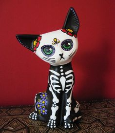 Day of the Dead SKELETON Kitty CAT Ceramic Altar Statue