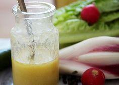 French dressing recipe:       6 tablespoons olive oil      2 tablespoons wine vinegar      ½ teaspoon sugar (or use stevia, or honey!)      1 teaspoon Dijon mustard
