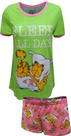 Don't you wish you could curl up and take a nap? Garfield has the right idea- just Sleep All Day! These pajamas for women are a Junior Cut and feature a ringer tee for the top with everyone's favorite cat on a bright green background. The sleep shorts are a coordinating pink with a sleeping Garfield all-over. Jammies are 100% cotton, junior cut.