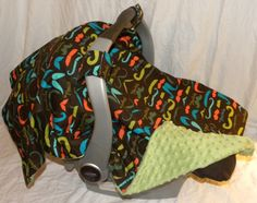 Infant Carseat Cover Multicolor Mustache with by GettinCrabby, $32.00