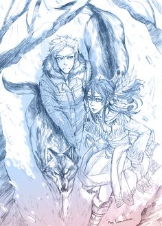 """mormoc: """"Jason as a pup, taking his brothers with. Piper as a Cherokee girl, leads the way in the winter forest. I love winter !!!! """""""