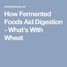 How Fermented Foods Aid Digestion - What's With Wheat