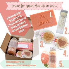 Enter for your chance to win this Valentine's Day Gift Set from Little Flower Soap Co, sponsored by elitesixteen.blogspot.com!  Treat yourself to 5 handmade beauty items - winner will be announced on Valentine's Day! Ends 2/13/13