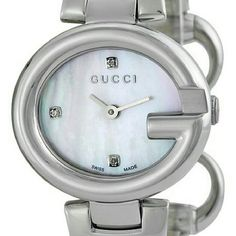 """Stainless Steel Ladies Watch  BG-#8451145"" WATCH  BRAND:Gucci  SERIES:Guccissima  MODEL NO:YA134504  GENDER:Ladies  MOVEMENT:Quartz  CASE  MATERIAL:Stainless Steel  DIAMETER:27 mm x 24 mm  THICKNESS:9 mm  BEZEL:Fixed Stainless Steel G  DIAL  COLOR:Mother of Pearl . Gucci Accessories Watches"