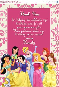 1000+ images about Princess thank you on Pinterest | Thank you cards ...