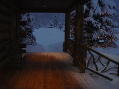 Peeking out the front door at night. Sun Valley, Idaho. slimpaley.com