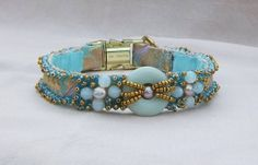 Pastel Brocade Luxury Dog Collar Handmade with Glass by ZoePepper, $89.00