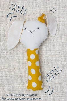 Sew a Plush Rattle for Baby (...a bunny, cat, & mouse)!   Make It and Love It