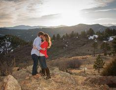 Mount Falcon Park Mountain Engagement Photos at Sunset