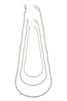 Etna Triple Long Necklace - Super versatile these long strand faceted necklaces can be worn simply on their own or layered together to create a statement look. Mix and Match all the clasps fit into each other with a seamless look. They come in the lenghts 16, 18 and 30 inches.  These beautiful Etna Collection Necklaces are made to be layered together, If you are buying them together we offer a small discount. Sterling Silver Collections, Necklaces, Pendant Necklace, Sterling Silver, Create, Fit, Stuff To Buy, Beautiful, Jewelry