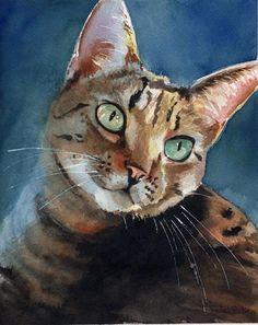 Arte de gato atigrado Print de mi acuarela por rachelsstudio, $25.00