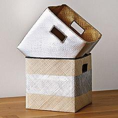 Metallic Woven Storage Bins