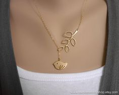 Bird and Branch Lariat Necklace Modern Jewelry by SweetMelodyShop, $18.00