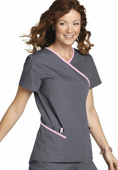 Urbane Double Pocket Mock-wrap Scrub Top