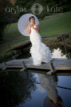 bridal portrait with parasol