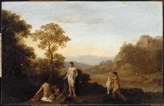 Cornelis van Poelenburgh, Paysage aux cinq baigneuses, huile sur cuivre, 16x25 cm, Paris, Musée du Louvre  © RMN-Grand Palais (musée du Louvre) / Thierry Le Mage