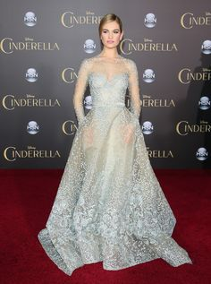 Lily James wears ELIE SAAB Haute Couture Fall Winter 2014-15 to the premiere of Disney's 'Cinderella' in Hollywood.