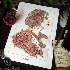 A4 Ruby Coffee Illustration Drawing Print by ArtofElorhan on Etsy
