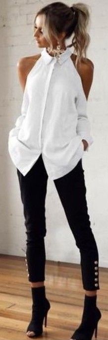 White Cut Out Detail Shirt + Black Button Pants                                                                             Source