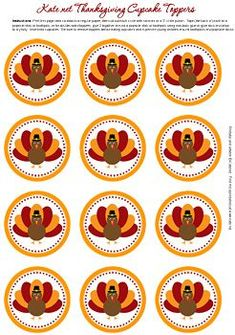 thanksgiving gift tag or cupcake topper Turkey Cupcakes, Thanksgiving Cupcakes, Thanksgiving Favors, Thanksgiving Preschool, Happy Thanksgiving Day, Thanksgiving Parties, Thanksgiving Projects, Thanksgiving Turkey Images, Printable Turkey