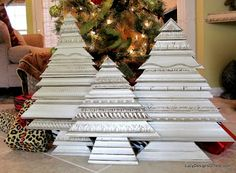 Picture Frame Molding Christmas Tree Sculptures Using Re-Purposed, Recycled Picture Frames and Decorative Molding Pieces