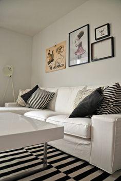 White Sofa, Industrial Lamp, White Industrial Lamp, Ikea Cushions, Pillows,  Striped