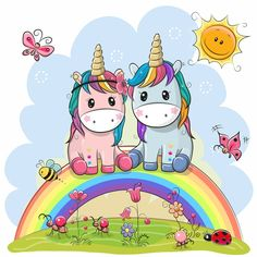 Two Cartoon Unicorns are sitting on the rainbow. Two Cute Cartoon Unicorns are sitting on the rainbow stock illustration Unicorn Drawing, Cartoon Unicorn, Unicorn Art, Cute Unicorn, Kids Cartoon Characters, Cartoon Kids, Unicorn Coloring Pages, Coloring Books, Cartoon Mignon