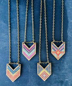 Kit de collar Chevron bambú cruz puntada collar por fabricsupply