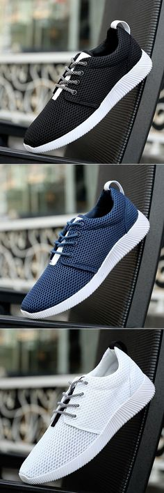 Men Mesh Fabric Light Weight Running Shoes Lace Up Casual Sneakers Casual  Sneakers 72426553a