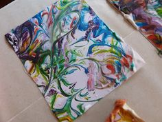 shaving cream marbled paper craft by Sometimes Creative