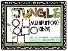 Jungle labels, follow link for bulletin board titles.