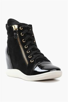 Shine Black Wedge Sneakers - pair with skinny jeans and a loose sweater.