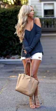 #Summer #Outfits / Blue Sleeveless Top + White Ripped Shorts