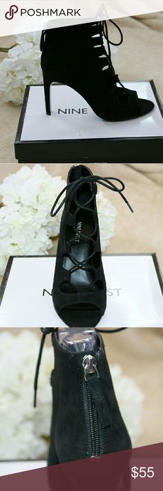 "NINE WEST lace up heels NWB Brand new in box Black suede with Lace up front Functioning zipper in back of heel  Extremely comfy!  A great touch of spunk to any pair of jeans or dress.  Heel measures 4"" Nine West Shoes Heels"