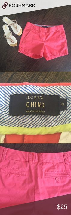 J. Crew Pink Chino Shorts Cute pink J. Crew shorts. Front and back pockets. Size 2. Excellent condition. J. Crew Shorts