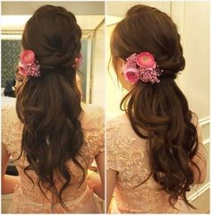 48 Beauty Hochzeit Frisuren Ideen - Destination Wedding - Make Up For Beginners - Leather Jewelry DIY - DIY Wedding Hair Styles - DIY Kitchen Ideas Engagement Hairstyles, Indian Wedding Hairstyles, Indian Hairstyles For Saree, Hairstyles For Weddings, Classic Wedding Hair, Curly Wedding Hair, Trendy Wedding, Bridal Hairdo, Hairdo Wedding