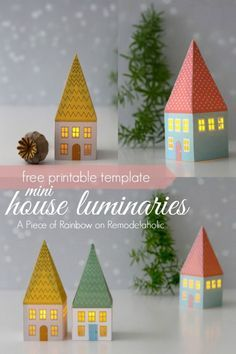 Mini House Luminaries - free printable template from A Piece of Rainbow on @Remodelaholic #winter #Christmas #12days72ideas