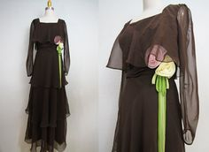 1960s miss elliette tiered maxi dress/ 60s brown prom wedding dress/ rosette/ hippie boho/ small.