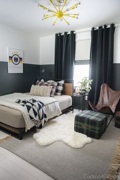 butterscotch leather butterfly chair in sophisticated boys bedroom with dark green walls, mixed plaids, and soccer memorabilia and yellow sputnik light fixture Green Accent Walls, Dark Green Walls, Black Walls, Boys Black And White Bedroom, Black And White Pillows, Modern Boys Rooms, Modern Bedroom, Kids Rooms, Bedroom Green